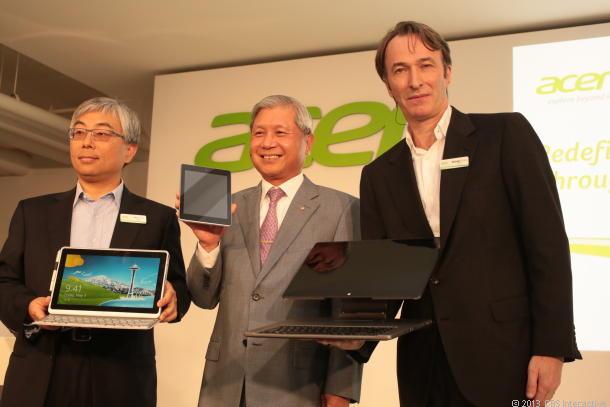 Acers Führungsriege im Mai 2013 mit (von links) President Jim Wong, Chairman J.T. Wang und CMO Michael Birkin (Bild: Sarah Tew/CNET)