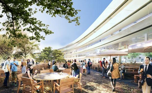 Cafeteria im Innenhof (Bild: Apple)