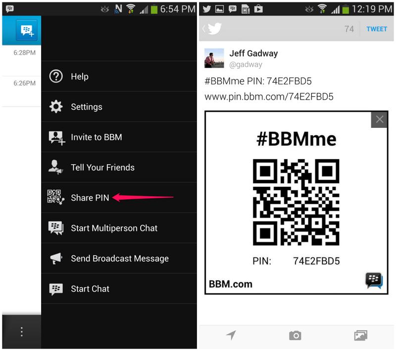 Der BBM PIN Barcode lässt sich jetzt auf Sozialen Netzwerken teilen. (Bild: BlackBerry)