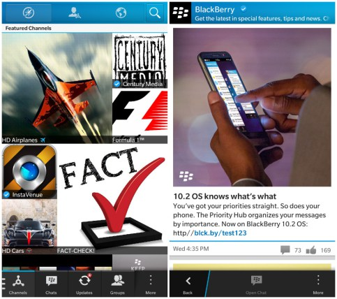 BlackBerry startet Social-Media-Angebot BlackBerry Messenger Channels. Quelle: BlackBerry