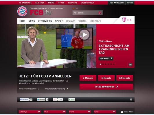 Der Vereinseigene TV-Sender FCB.TV sendet ein wöchentlichens Programm in 75 Ländern. (Screenshot: fcb.tv)