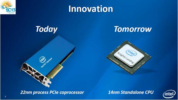 Intel will aus einem sperrigen Koprozessor oder Accelerator eine Many Integrated Cores Architektur machen, die auch als normaler Prozessor fungieren kann. Quelle: Intel