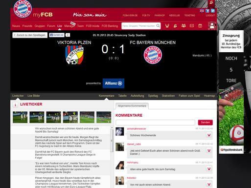 Auf MyFCB.de können Fans die Spiele ihres Vereins im Live-Ticker verfolgen. (Screenshot: myfcb.de