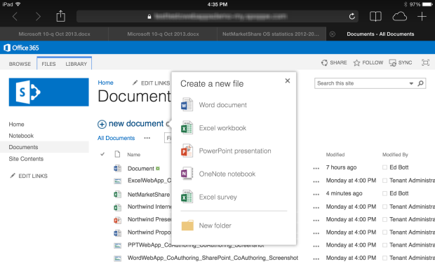 Office fürs iPad ist schon Realität (Screenshot: Microsoft).