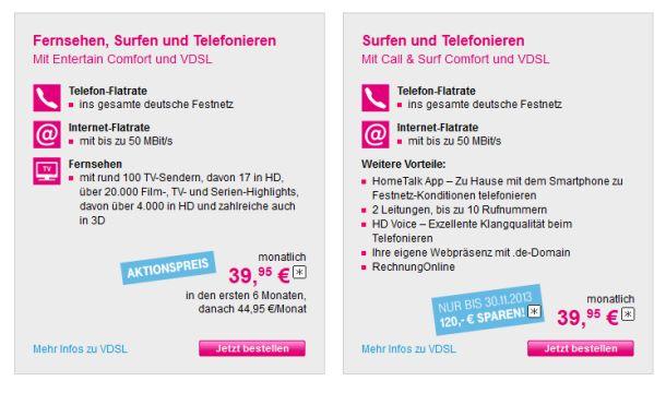 Ihr VDSL-Angebot vermarktet die Telekom derzeit in zwei Paketen, die zu Beginn beide 39,95 Euro kosten (Screenshot: ITespresso).