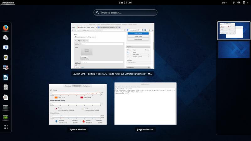Fedora 20 mit Gnome-Desktop (Bild: ZDNet.com)