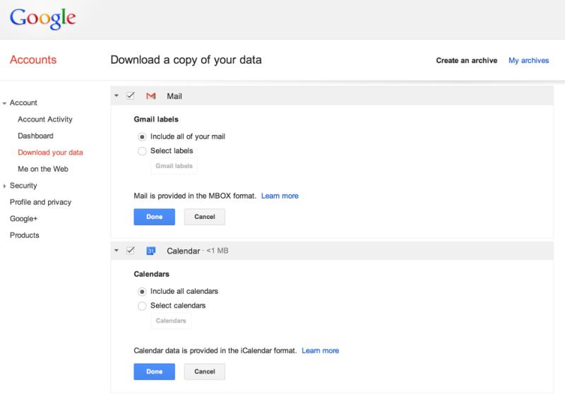 Schon bald sollen auch Gmail-Nutzer in der Lage sein, ihre Daten mit wenigen Klicks zu archivieren. Quelle: Google