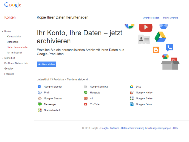 12 Produkte aus dem Google-Portfolio können jetzt in einem Archiv gesichert werden. Mit Gmail soll in den nächsten Wochen ein weiteres hinzukommen. Screenshot: ZDNet.de