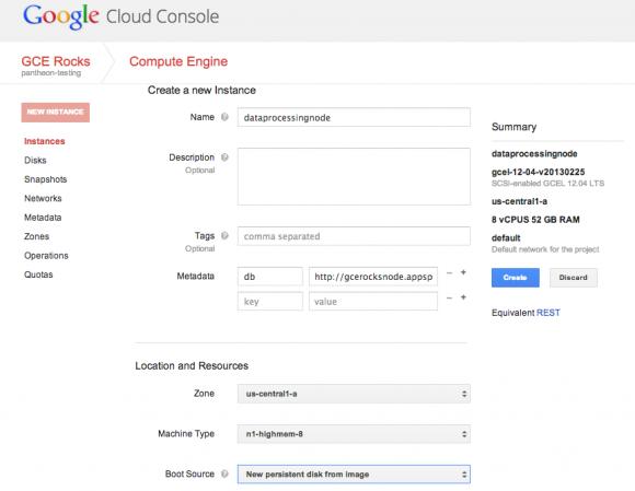 Die zentrale Verwaltung der Google Compute Engine: die Cloud Console. Quelle: Google