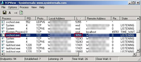 Die 64-Bit-Variante von Zeus startet einen Tor-Proxy, der sich als Windows-Systemdienst svchost.exe tarnt (Screenshot: Kaspersky).