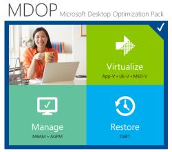 Virtualisieren, Verwalten und Sichern sind die Hauptfunktionen des Microsoft Desktop Optimization Packs. Jetzt liegt die Tool-Sammlung als R2 vor. Quelle: Microsoft