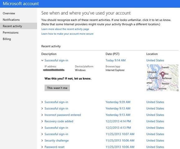 Nutzer eines Microsoft-Kontos finden nun in den Einstellungen ein Übersicht über die zuletzt durchgeführten Anmeldungen (Bild: Microsoft).