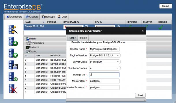 Die Management-Console für die EnterpriseDB Postgres Plus Cloud Database. Quelle: EDB