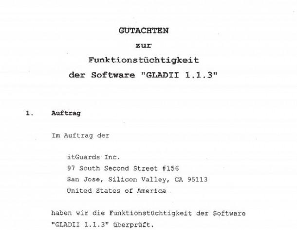 Gutachten von Diehl und Partner zur Überwachungssoftware Gladii 1.1.3. An dem Gutachten ist offenbar nichts auszusetzen. Allerdings ist es als Grundlage für den Auskunftbeschluss ungeeignet.