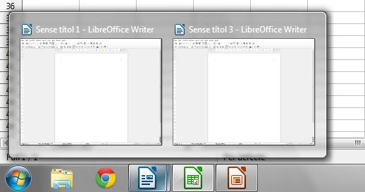 LibreOffice 4.2 freundet sich mit der Windows-Taskbar an und zeigt geöffnete Dokumente sortiert in Gruppen an. Quelle: TDF