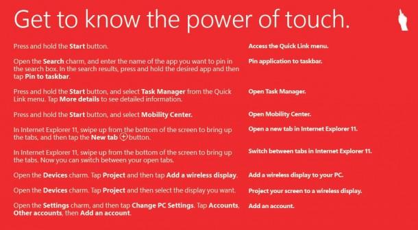 In einer neuen Liste führt Microsoft sämtliche Befehle auf, die das Arbeiten mit Windows 8.1 einfacher machen sollen. Quelle: Microsoft