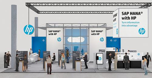 HP kehrt nach über zehn Jahren auf die CeBIT zurück. Auf dem Stand repräsentiert jeder Platz eine typisches Stadium oder eine Dimension eines SAP-HANA-Projekts. Quelle: HP