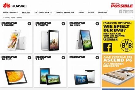 Die Erfahrungen mit Consumer-Produkten wie Smartphones und Tablets nutzt Huawei auch für die Produkte im Bereich Enterprise, wie der Screenshot von der Website für Mediapads zeigt.