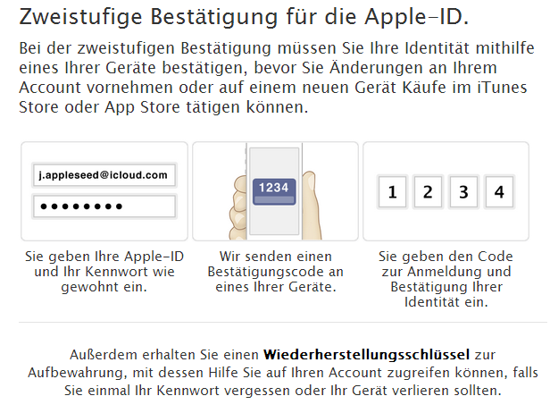 Apple hat die Zwei-Faktor-Authentifzierung für Apple-ID wieder reaktiviert (Screenshot: ZDNet.de).