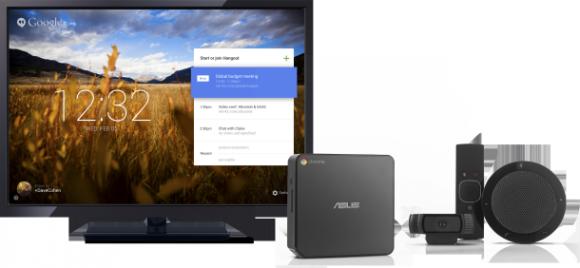 Google hat basierend auf der Chromebox von Asus eine Conferencing-Lösung geschnürt. Für kanpp 1000 Dollar bekommt man das Bundle, allerdings ohne Monitor. Quelle: Google