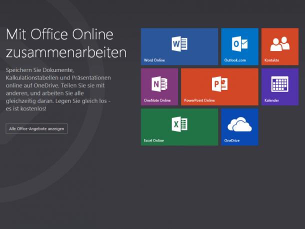 Unter Office.com sind dem Nutzer nun die Online-Versionen der Office-Suite zugänglich. Screenshot: ZDNet.de