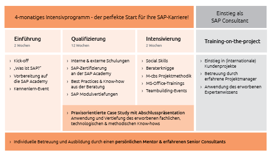 Diese Stationen durchlaufen die Einsteiger in die SAP-Beratung bei dem Heidelberger Unternehmen cbs. Quelle: cbs