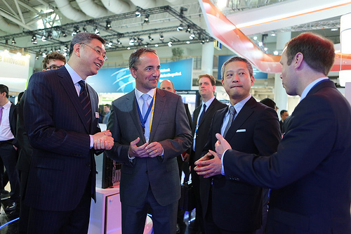 Jim Hagemann Snabe auf dem Stand von Huawei auf der CeBIT 2014. Quelle: Huawei