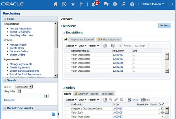 Und das gleiche Modul aus Fusion Application in der Version 8. Quelle: Oracle
