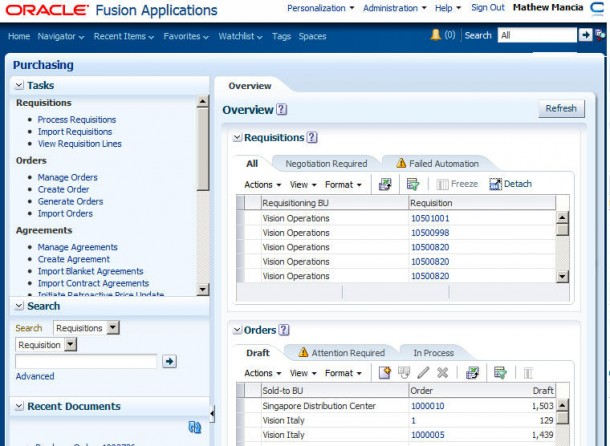 Fusion Application Version 7. Quelle: Oracle