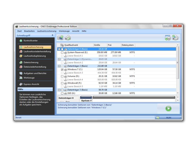 """In der """"Umzugshilfe"""" sichert DiskImage den Inhalt von Computern für den Transfer aufs neue System (Screenshot: O&O Software)."""