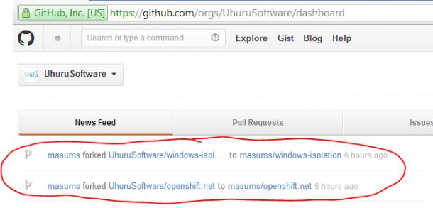 Der erste Fork von OpenShift für .Net von Uhuru Software auf Github. Quelle: Uhuru