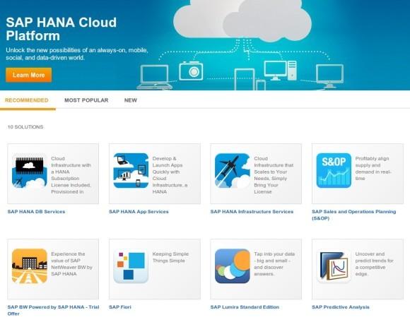 Die Startseite des HANA Marketplace. Nicht nur die Preisstruktur soll transparent werden, sondern auch das Beziehen, Entwickeln und Anbieten von Lösungen. Quelle: SAP
