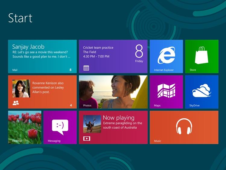 Startbildschirm Windows 8 (Bild: Microsoft)