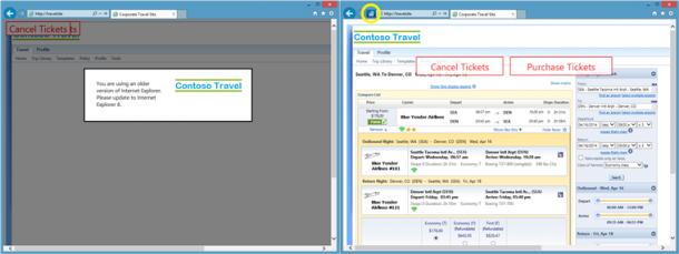 Der Enterprise Mode des Internet Explorer 11 tritt in Aktion. Sichtbar wird dieser Modus durch ein Icon in der Adressleiste, das hier gelb eingekreist ist. Quelle: Microsoft