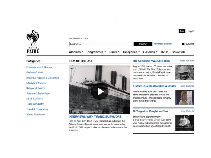 Website des British Pathé Archive (Screenshot: silicon.de)