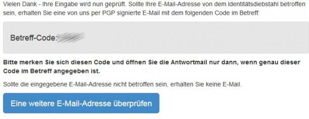 Unter https://www.sicherheitstest.bsi.de/ können Nutzer überprüfen, ob sie von dem von der Staatsanwaltschaft Verden entdeckten Identitätsdiebstahl betroffen sind (Bildschirmfoto: ZDNet).