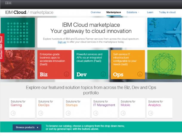 IBMs neuer Cloud-Marktplatz für Unternehmen (Screenshot: ZDNet.de)