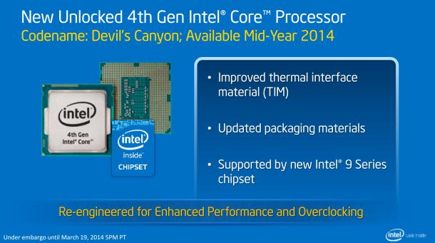 Devil's Canyon! Die neuen Haswell-CPUs kommen mit einer neuen Wärmeleitpaste, die bekannte Probleme der Vorgänger beheben soll. Quelle: Intel
