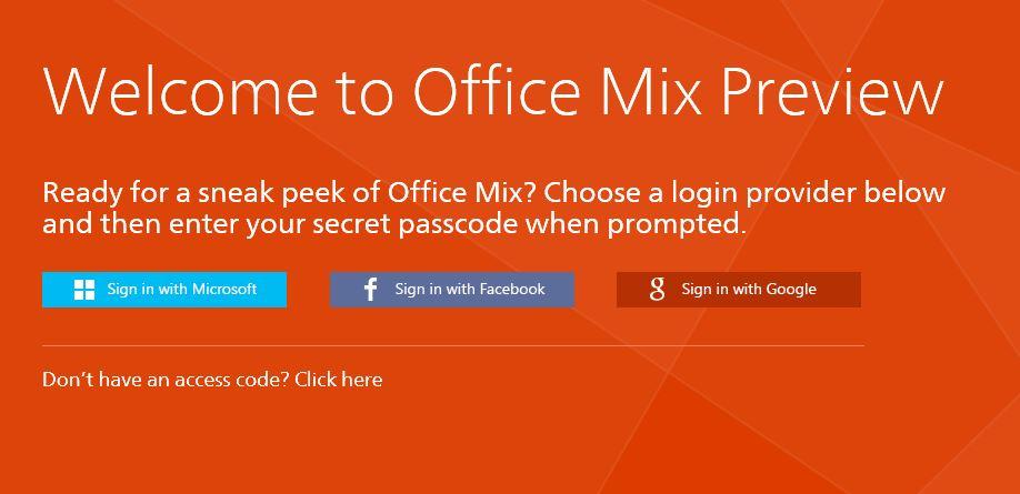 Nutzer benötigen für die Preview von Office Mix einen speziellen Zugangscode, den sie auf der Microsoft-Website anfordern können (Bild: Microsoft).