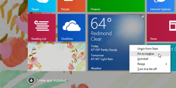 Rechtsklick lassen sich neu installierte Apps an die Taskbar anheften. Quelle: Microsoft