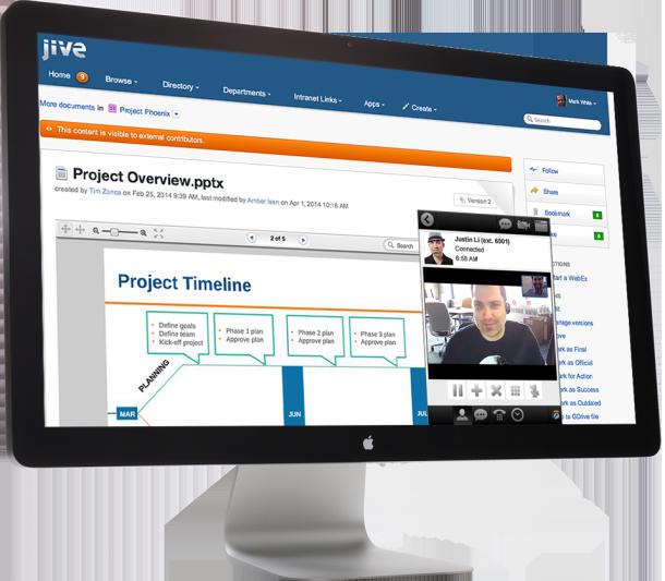 Cisco und Jive bieten nun eine integrierte Kollaborationslösung, die innerhalb von Jive auch Jabber und WebEx Meeitings ermöglicht. Die eigene Social-Enterprise-Lösung WebEx Social hingegen stellt Cisco ein. Support dafür gibt es jedoch noch bis 2017. Quelle: Jive