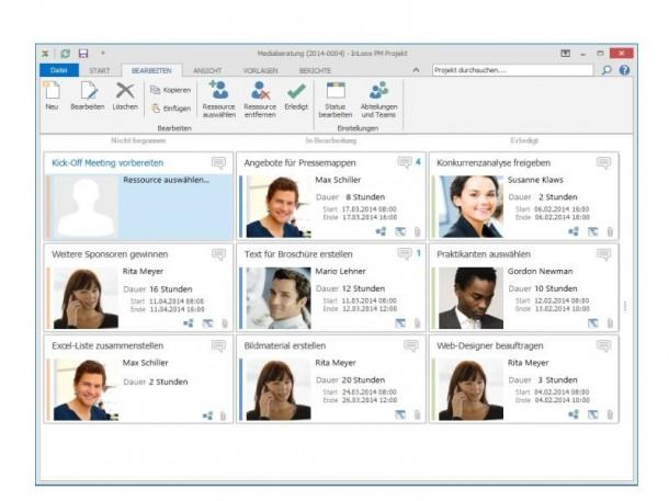 Die vereinfachte Ansicht von Projekttätigkeiten pro Mitarbeiter ergänzt klassische Darstellungsweisen wie das zeitorientierte Gantt-Diagramm. (Bild: InLoox)