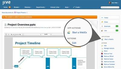 Nutzer von Jive können dank der Kooperation von Cisco und Jive eine WebEx-Konferenz direkt aus dem Jive-Interface starten. Quelle: Jive