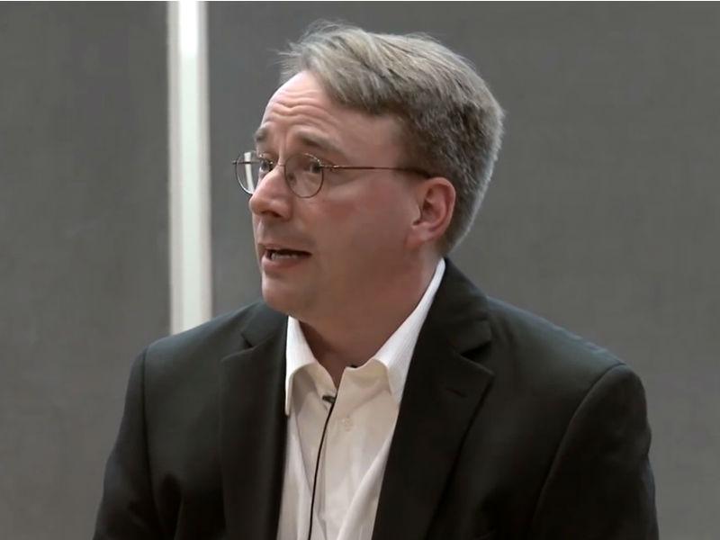 Linus Torvalds bei seinem Vortrag an der Aalto-Universität im finnischen Espoo im Jahr 2012 (Screenshot: Stephen Shankland/CNET)