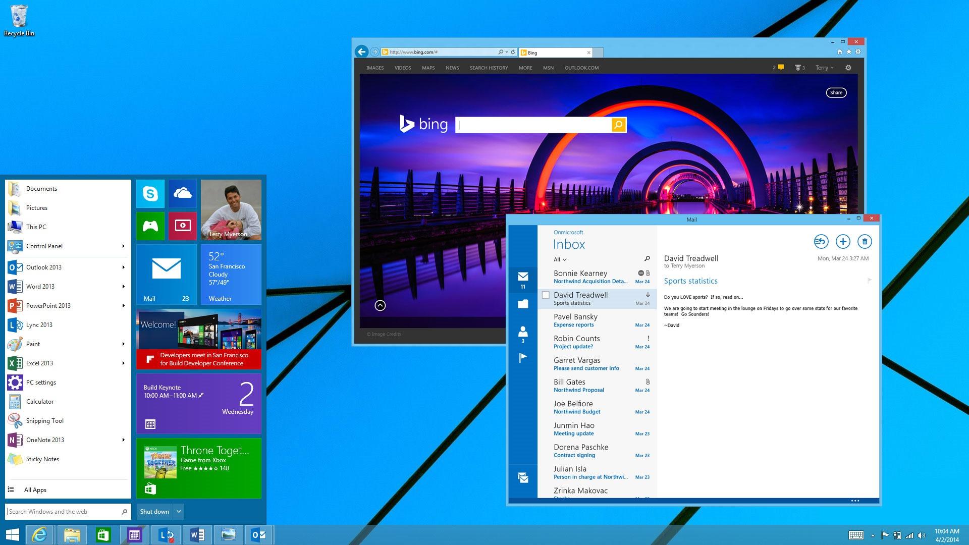 Windows 8.1 with Bing ist für OEM-Hersteller kostenlos, allerdings nutzt standardmäßig Microsofts Suchmachine. Quelle: Microsoft
