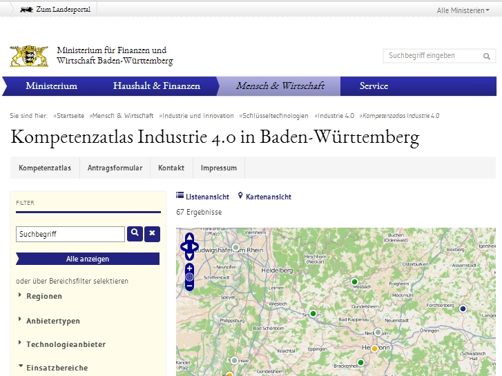 """Der Web-Kompetenzatlas """"Industrie 4.0 für Baden-Württemberg"""" soll eine einfache Übersicht für die Partner- und Experten-Suche bereitstellen. (Screenshot: Fraunhofer-Institut für Optronik, Systemtechnik und Bildauswertung IOSB )"""