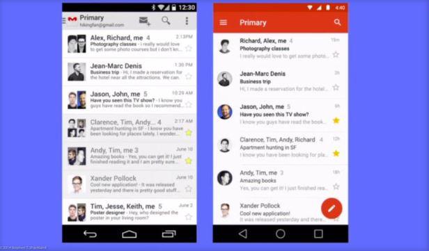 Google wird das neue Material-Design-Interface auch auf seine eigenen Android Apps wie Gmail übertragen (Screenshot: Stephen Shankland/CNET).