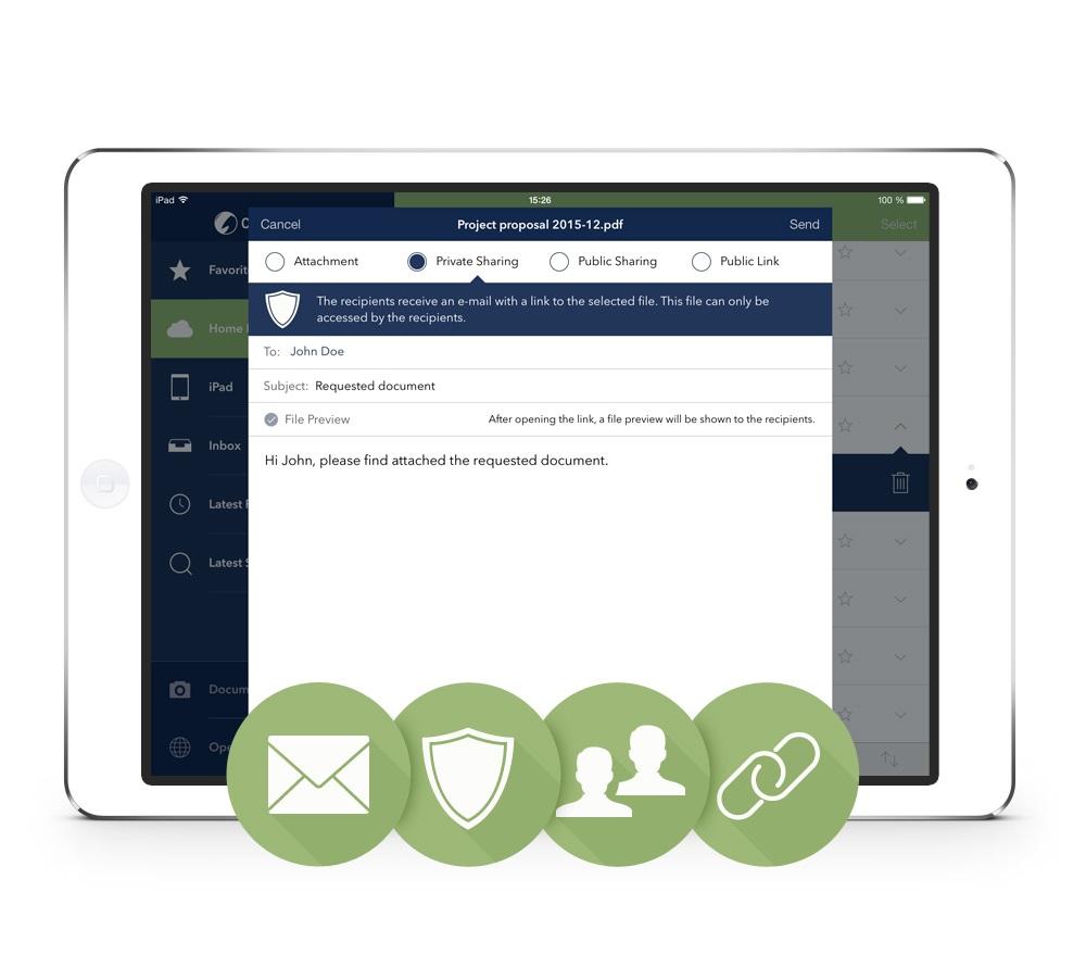 Smart Sharing soll den Austausch von Dateien mit externen Mitarbeitern sicherer machen. (Bild: Cortado)