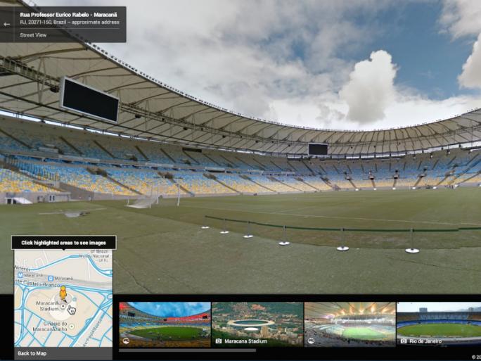 Street-View-Ansicht des Estádio do Maracanã, in dem das Endspiel der Fußball-WM 2014 stattfinden wird (Bild: Google).