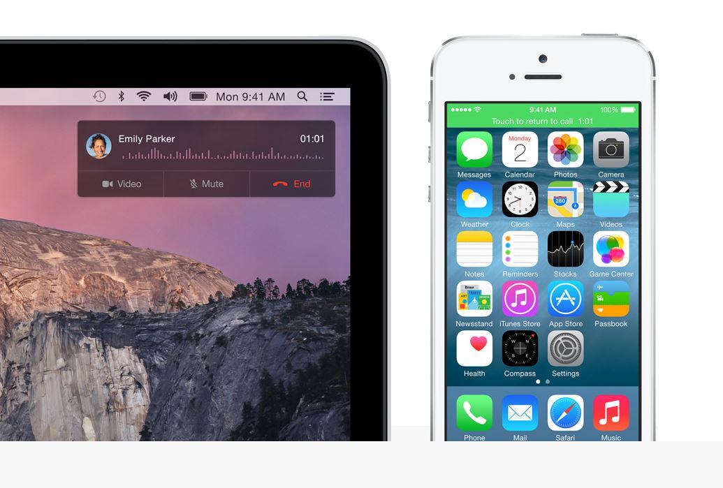 Eine neue Continuity-Funktion reicht Telefonate vom iPhone auf den Mac weiter. Quelle: Apple